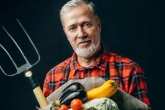 Gammal garderner rymmer grönsaker och högaffeln royaltyfri bild