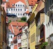 Gammal gata av Meissen i Tyskland arkivbilder