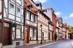Gammal gata i Hildesheim Arkivbild