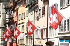 Gammal gata i Zurich Arkivbild