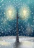 Gammal gatalampa Tecknet och snö kan lätt tas bort Royaltyfria Bilder