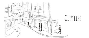 gammal gatatown Vektorillustrationen skissar in stil stock illustrationer