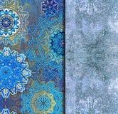 Gammal geometrisk blå bakgrund för tappning vektor illustrationer