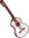 gammal gitarr royaltyfri illustrationer