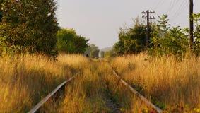 Gammal glömd järnväg någonstans i Eastern Europe Arkivfoto