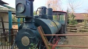 Gammal grå lokomotiv i vildmarken royaltyfri bild