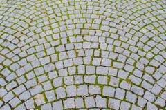 Gammal grå trottoar av kullerstenstenar Arkivfoton