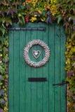 Gammal grön barndoor som omges av murgrönaen Royaltyfri Fotografi