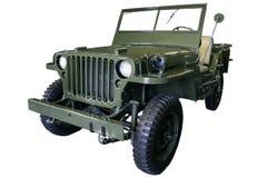 Gammal grön jeep fotografering för bildbyråer