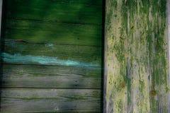 Gammal grön plankavägg fotografering för bildbyråer