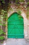 Gammal grön träport Royaltyfri Foto