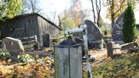 Gammal grav för blad för träd för höst för flyttning för lampa för kyrkogårdgarneringljus stock video