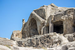 Gammal grottastad Uplistsikhe i den Caucasus regionen, Georgia Arkivbilder