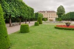 Gammal gräsplan parkerar nära den Schonbrunn slotten, Wien Arkivfoton