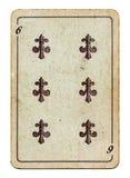 Gammal grunge som spelar det isolerade kortet med sex nummer Royaltyfri Bild