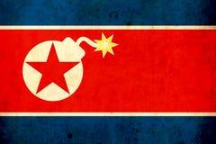 Gammal grungeflagga av Nordkorea armorers Kriga fara _ missiler Royaltyfri Foto