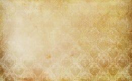 Gammal grungepapperstextur och blom- prydnad för tappning Arkivfoton
