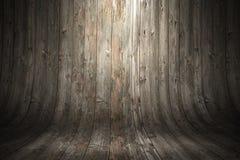 Gammal grungy krökt träbakgrund 3d som fäster den lätta redigerande mappillustrationen ihop, inkluderade banaframförandet Arkivbilder
