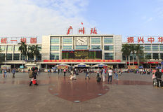 Gammal Guangzhou järnvägsstation i Guangdong Kina, huvudbyggnad och fyrkant av den västra järnvägsstationen i kanton Royaltyfri Foto
