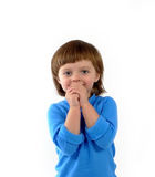 gammal gullig flicka smilling tre år Arkivfoto