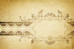 Gammal gulnad pappers- bakgrund med tappningramen Grunge och vin Royaltyfri Bild
