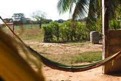 Gammal hängmatta i en lantgård Arkivfoto