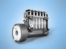 Gammal högtrycks- diesel- tolkning för pump 3d på blå bakgrund vektor illustrationer