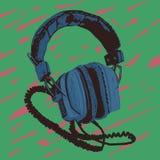 Gammal hörlurar stock illustrationer