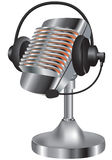 gammal hörlurar med mikrofonmikrofon vektor illustrationer