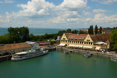 Gammal hamn av den Lindeau Bodensee Tyskland Arkivfoto