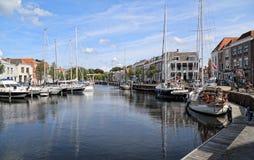 Gammal hamn av Goes i Nederländerna Royaltyfri Fotografi