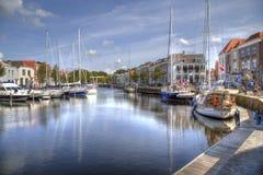 Gammal hamn av Goes i Nederländerna Fotografering för Bildbyråer