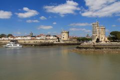 gammal hamn av La Rochelle i Frankrike Arkivbilder