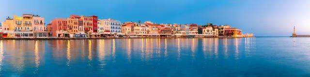 Gammal hamn på soluppgång, Chania, Kreta, Grekland Royaltyfria Foton