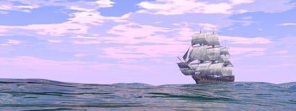 Gammal handels- ship - 3D framför stock illustrationer