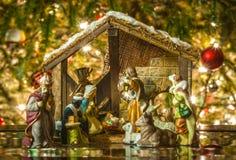 Gammal handgjord julkrubba Royaltyfria Bilder