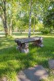 Gammal handgjord träbänk nära leftside av vandringsledet Royaltyfri Foto