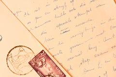 gammal handskriven bokstav arkivfoto