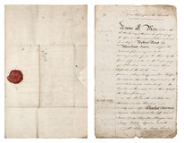 gammal handskriven bokstav Antikvitetpappersark med den röda vaxskyddsremsan Royaltyfri Fotografi