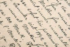 Gammal handskriven text i tyskt språk Arkivfoton
