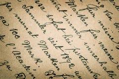 Gammal handskriven text i tyskt språk Royaltyfri Bild