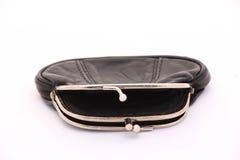 Gammal handväska för tomt svart läder Royaltyfria Foton