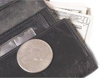 Gammal handväska med dollar Royaltyfri Fotografi