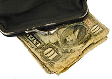 gammal handväskatappning för pengar Arkivbild