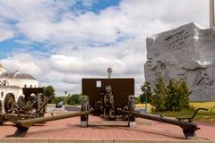 Gammal haubits på den Brest fästningen _ Arkivbilder