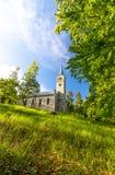 Gammal historisk kyrka i skogen Arkivfoton