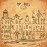 _ Gammal historiska byggnader och kanal Traditionell arkitektur av Nederländerna stock illustrationer