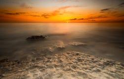 Gammal Hunstanton solnedgång Arkivbilder