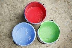 Gammal innehållande silkscreen för färg tre Arkivbild