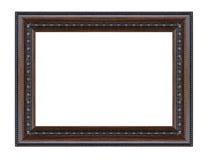 Gammal isolerad dekorativ sniden wood ställning för antikvitetsvart ram Arkivfoton